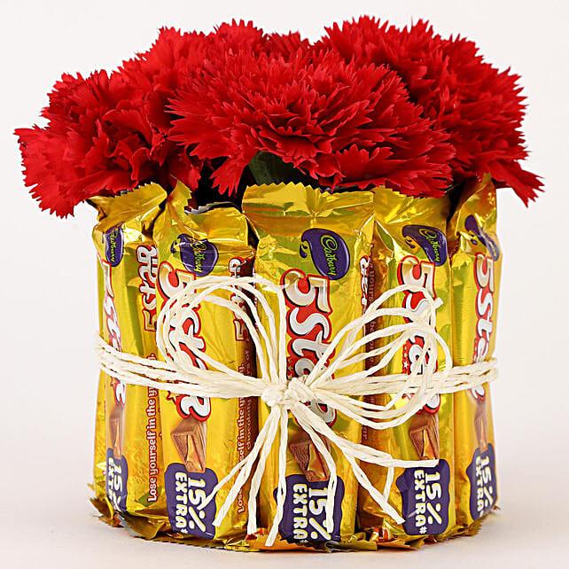 Red Carnations N Chocolate Arrangement:Friendship Day Chocolates