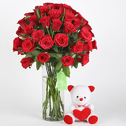 50 Red Roses & Teddy Combo