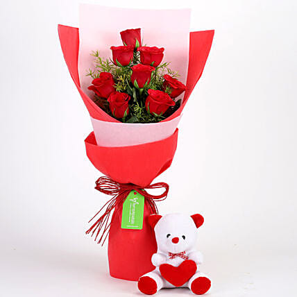 Red Roses Bouquet with Teddy Online