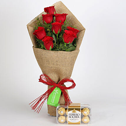 Roses Bouquet with Ferrero Rocher