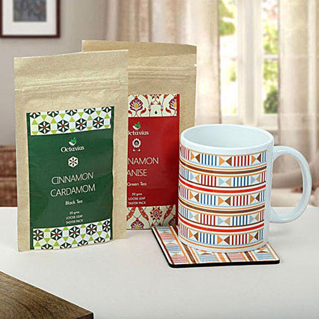A gift of mug and tea coaster, octavius cinnamon cardamom Black Tea and cinnamon anise green tea
