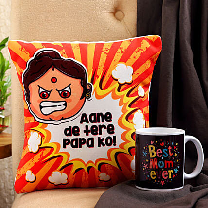 Aane De Tere Papa Ko Printed Cushion And Mug Hand Delivery