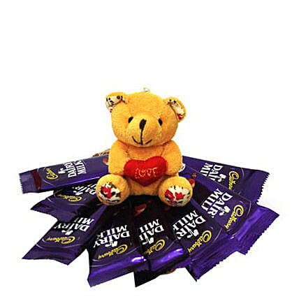 All you Add Is Love-2 inch teddy bear,8 pieces Cadbury Dairymilk chocolates 18 grams each:Send Soft toys to Lucknow