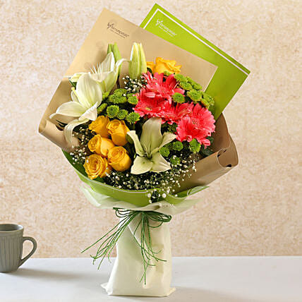 Alluring Mixed Flowers Raffia Tied Bouquet