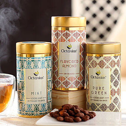 Almond and Green Tea Hamper Online:Tea Gift Hampers
