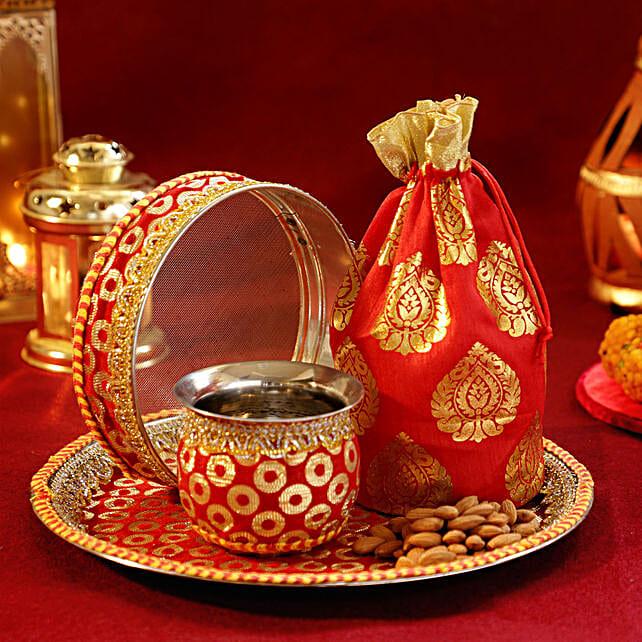Almonds Sargi Red N Golden Thali Set
