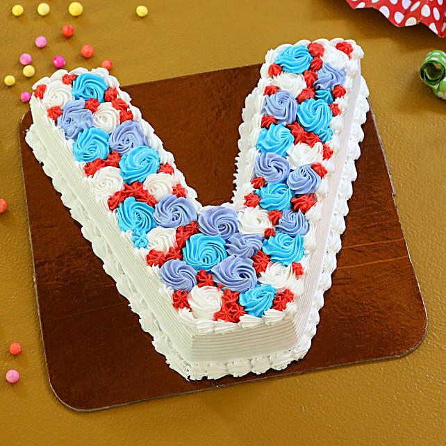 Alphabet V Cake