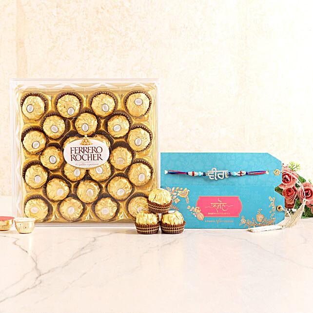 American Diamond Rakhi and Ferrero Rocher