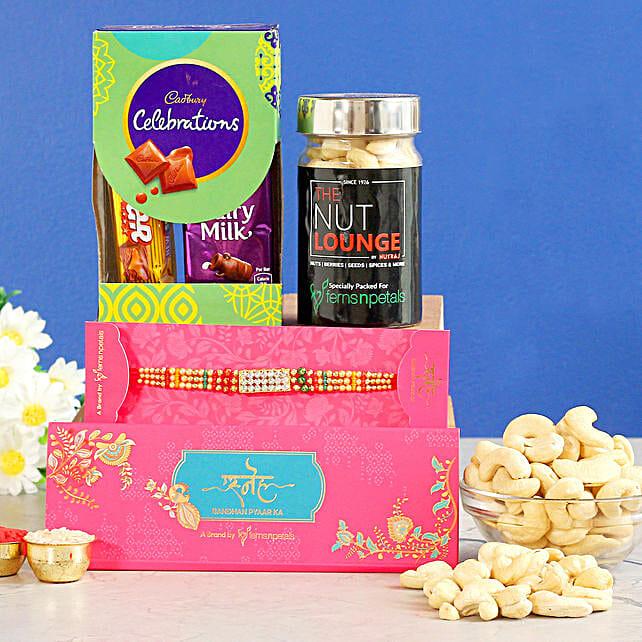 American Diamond Rakhi N Celebration Box With Cashews:Rakhi Combo