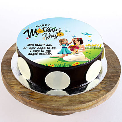 Greeting wish cake for mom:Eggless Cakes for Mother's Day