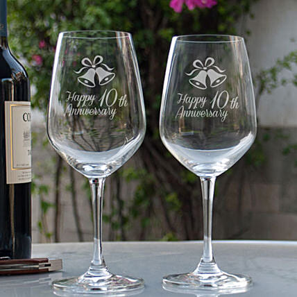 Personalised Wine Glasses for Anniversary