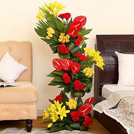 Online Combination of Anthuriums and Carmnations Bouquet