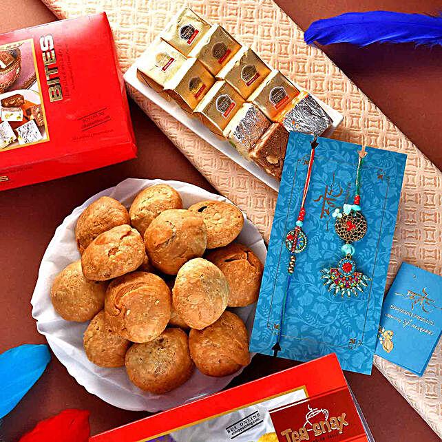 Antique Bhaiya Bhabhi Rakhi Set N Mewa Bites Hamper