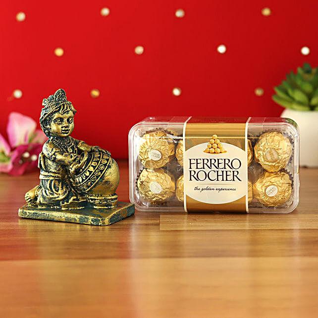 Antique Makhan Chor Idol & Ferrero Rocher Combo:Janmashtami Idols