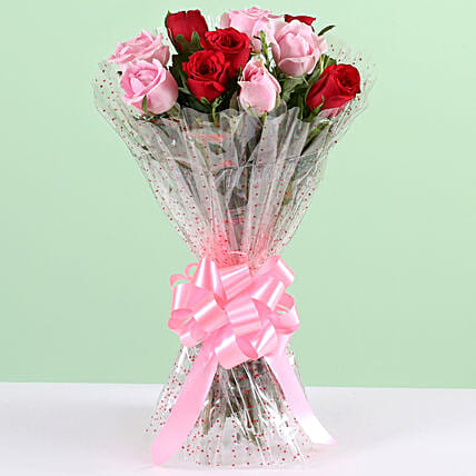 Red and Pink Rose Bouquet Online:Get Well Soon Flowers