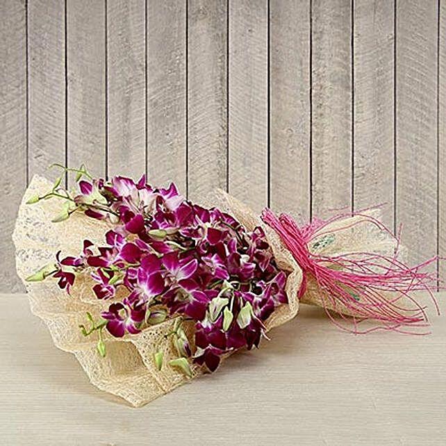 Purple orchids bouquet