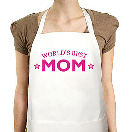 Apron For Best Mom-quote printed white apron:Apron