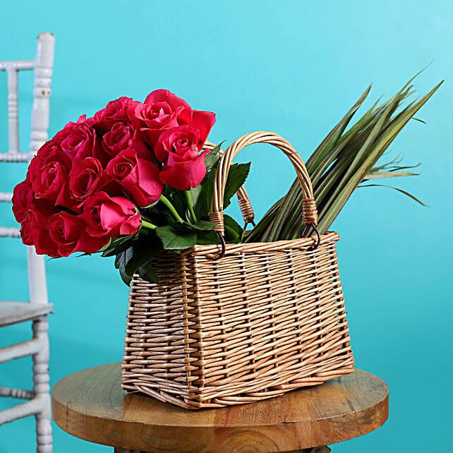 Aqua Roses Arrangement In Handle Basket