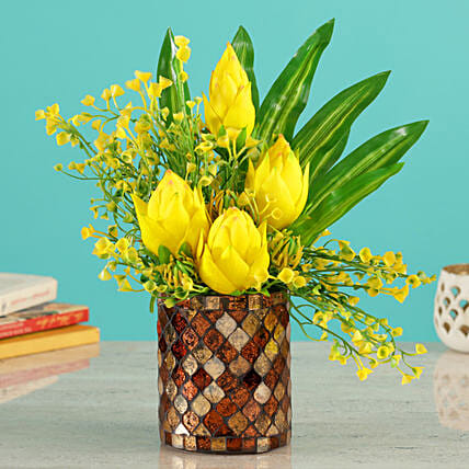 Yellow Lotus Buds Arrangements:Artificial Flowers