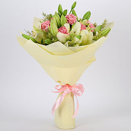 Mixed Lilies and Carnations Bouquet:Doctors Day Gifts