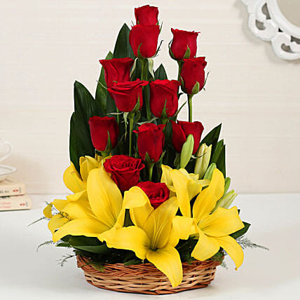Asiatic Lilies And Red Roses Online:Mixed Colour Flowers
