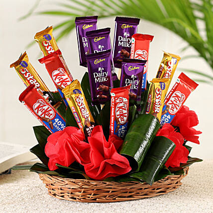 Chocolates Basket Arrangement:Valentine Chocolate Bouquet