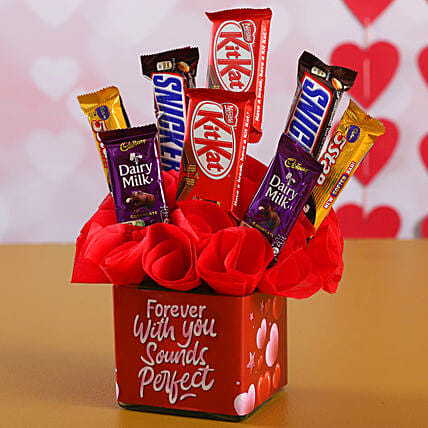 Assorted Chocolates In Forever With You Vase