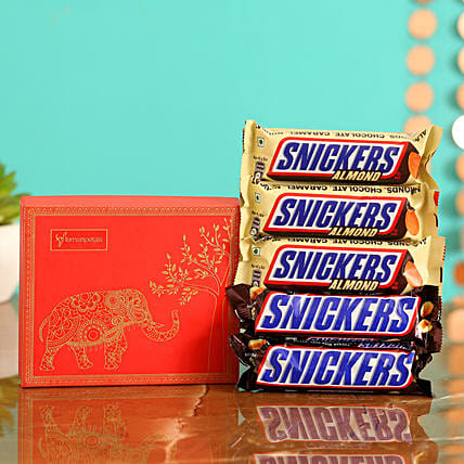 Online  Chocolates With Red Reusable Box:Snickers Chocolates