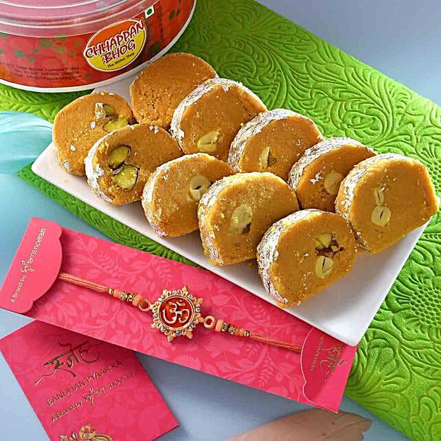 Auspicious Peach Om Rakhi N Batisha Slice Combo