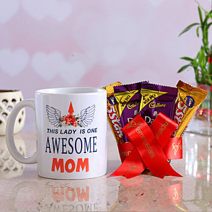 Awesome Mom Mug Tempting Chocolates Hand Delivery