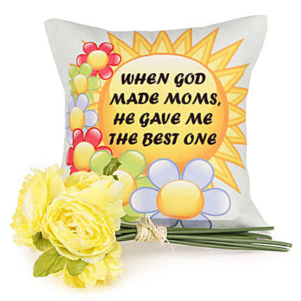 Awesome Mother-12x12 inches bright mother special cushion,artificial flower bunch 7 sticks with greeting card