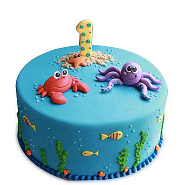 Baby Sea Animals Cake 3kg Eggless Pineapple