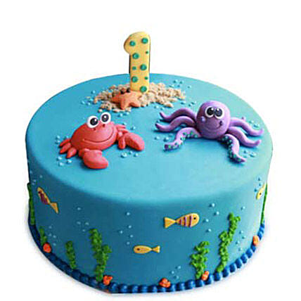 Baby Sea Animals Cake 4kg Eggless Butterscotch