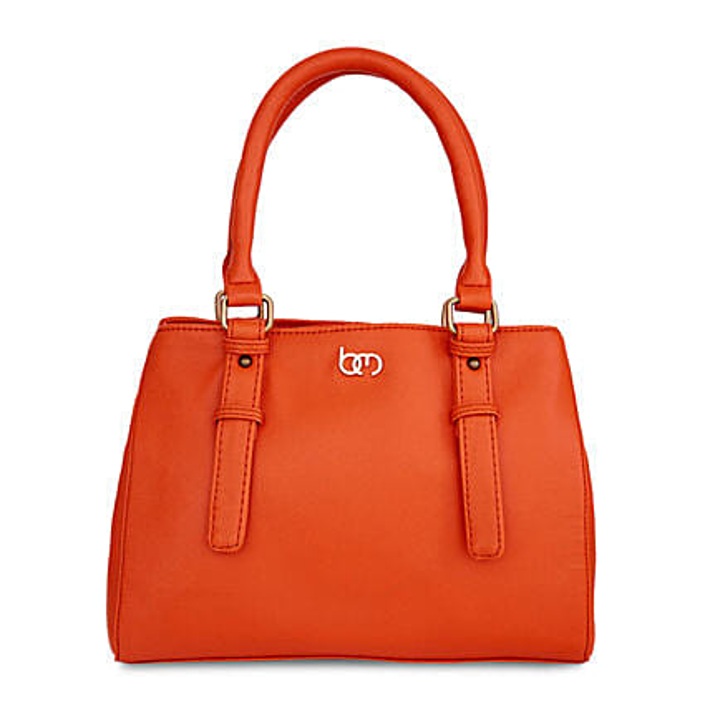 orange color handbag for ladies