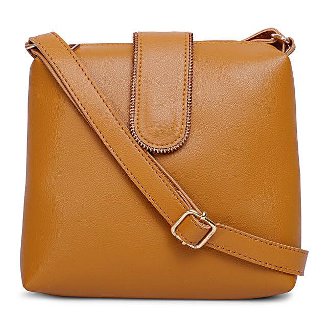 Bagsy Malone Chain Flap Sling Bag- Walnut Brown:Buy Handbags