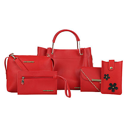 Bagsy Malone Red Tote Bags Combo of 5