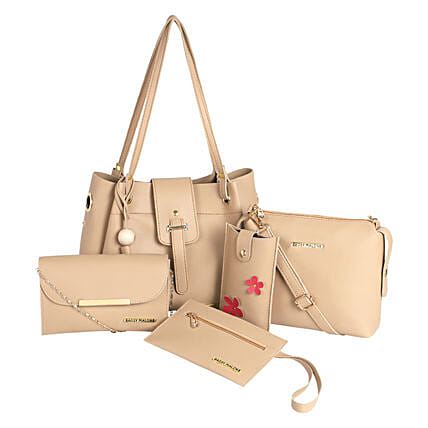 Bagsy Malone Tote Bag Combo of 5- Beige