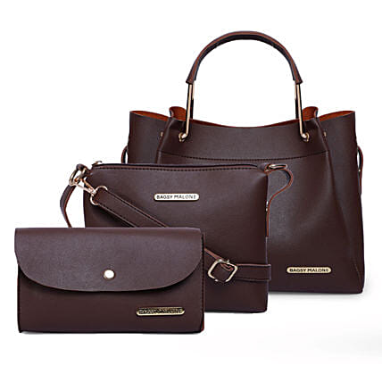Bagsy Malone Tote Combo Bags- Brown