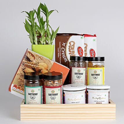 Bamboo Plant with Healthy Snacks Hamper