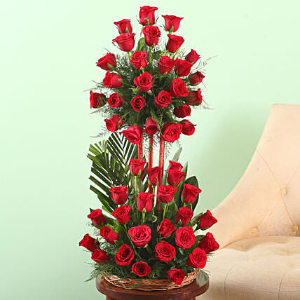 Online Basket of Red Roses