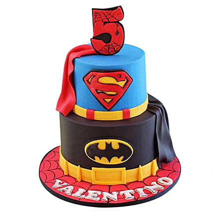 Superhero design cake 3kg:Spiderman Cakes