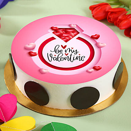 Be My Valentine Pineapple Photo Cake:Cakes for Propose Day