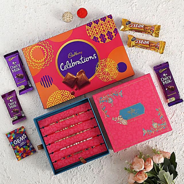 Beads & Pearls Rakhi Set With Chocolate Box:All Rakhi