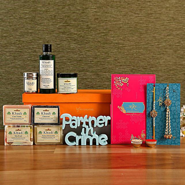 Beads Lumba Rakhi Set and Khadi Skincare Box With Table Top:Rakhi With Grooming Hamper