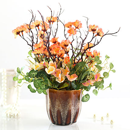 online faux flowers in brown pot