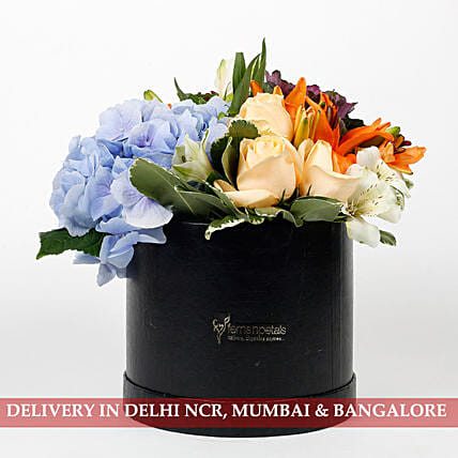 Beautiful Black Box of Mixed 9 Exotic Flowers