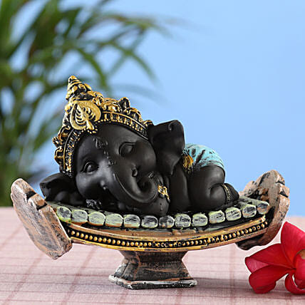 online Beautiful Black Resting Bal Ganesha Idol:Ganesh Idols