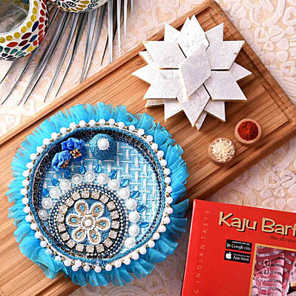 Beautiful Blue Pooja Thali With Kaju Katli Combo:Bhai Dooj Combos