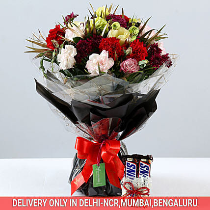 Bunch of Flowers and Chocolate Combo Online