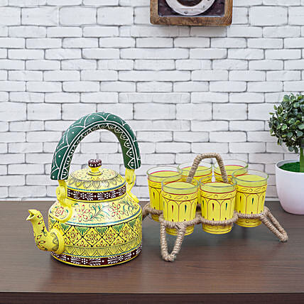 Beautiful Handpainted Kettle And 6 Glasses With Stand